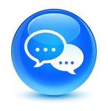 Hable el botón redondo azul ciánico vidrioso del icono de la burbuja Imagenes de archivo