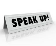 Hable encima de la opinión de la parte de la tarjeta de presentación de la tienda de las palabras Fotografía de archivo
