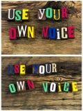 Hable encima de uso su propio collage de la voz fotos de archivo libres de regalías