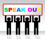 Hable hacia fuera indica dicen su mente y atención Foto de archivo