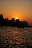 haborHong Kong sundown victoria Royaltyfria Foton