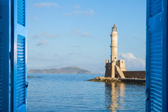 Habour av Chania, Kreta, Grekland Arkivbilder