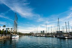 The harbour of Barcelona with lots of sail boats stock image