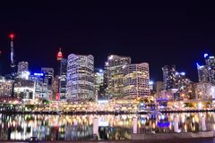 Habour chéri la nuit Sydney Image libre de droits