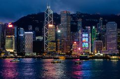 HARBOUR CITY HONG KONG, 08 JUNE 2019 : Night time beautiful scenery. skyline of Hong Kong city from Tsim She Tsui area face to. Central area with many high stock photo