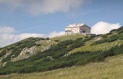 Habsburg moutnain hut in Rax Alps. Habsburg mountain hut is in south part of Rax Alps in Austria Stock Photo