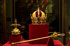 Habsburgs crown, sceptre and orb. In the Hofburg treasury Royalty Free Stock Photography