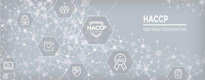 HACCP - Grupo do ícone dos pontos de controle da análise de perigo e bandeira de encabeçamento críticos da Web com concessão ou s ilustração royalty free