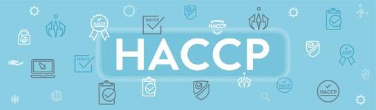 HACCP - Grupo do ?cone dos pontos de controle da an?lise de perigo e bandeira de encabe?amento cr?ticos da Web com concess?o ou s ilustração stock