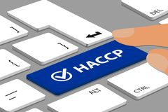 HACCP-knappen med kontrollen Mark On Laptop Keyboard With fingrar - vektorillustrationen vektor illustrationer