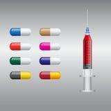 Hace tabletas cápsulas de las píldoras, la jeringuilla y el vector de la medicina Imagen de archivo libre de regalías