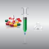 Hace tabletas cápsulas de las píldoras, la jeringuilla y el vector de la medicina Fotografía de archivo