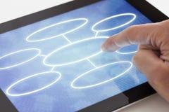 Hacer clic en una tableta con el organigrama fotografía de archivo libre de regalías