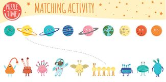 Hacer juego la actividad para los niños con los planetas, los extranjeros y el astronauta stock de ilustración