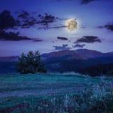 Haces del claro de luna en montaña Fotos de archivo libres de regalías