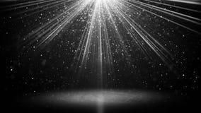 Haces luminosos blancos y partículas en fondo negro del abstarct ilustración del vector
