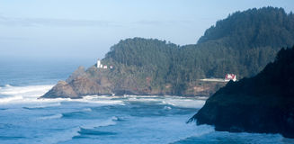 Haceta Head Lighthouse and care taker house Stock Image