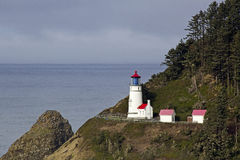 Haceta Head Lighthouse on Cloudy Day Stock Photos