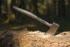 Hacha de madera de Sticked Foto de archivo libre de regalías