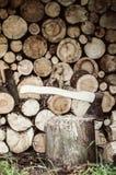 Hacha en el registro de madera Fotografía de archivo libre de regalías