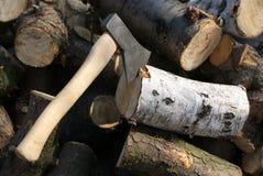 Hacha para cortar el bosque Imagenes de archivo