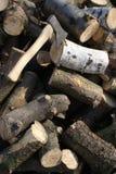 Hacha para cortar el bosque Foto de archivo