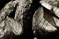 Hacha y madera tajada - monocromo Imagen de archivo libre de regalías