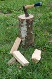 Hacha y registros de madera de los árboles después de ser cortado en hierba Imagenes de archivo