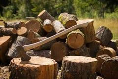 Hache avec du bois coupé Images libres de droits