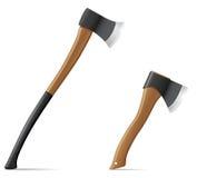 Hache d'outil avec l'illustration en bois de vecteur de poignée Images libres de droits