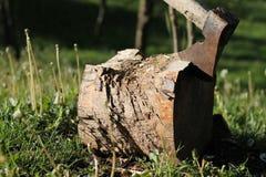 Hache dans le rondin en bois Photos stock