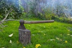 Hache en acier avec une poignée en bois Image stock