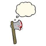 hache ensanglantée de bande dessinée avec la bulle de pensée Images libres de droits