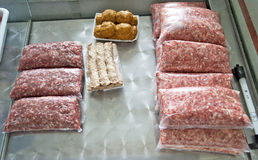 Hachez et des boulettes de viande Photo libre de droits