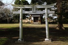 Hachidairyuo Shrine a Japanese Shinto shrine with its Torii in the foreground. Stock Images