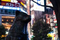 Hachiko狗雕象的紧的射击在涩谷横穿的与后边明亮的五颜六色的广告牌 库存照片