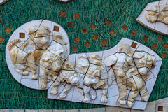 Hachiko low relief sculpture at Shinjuku station in Tokyo Royalty Free Stock Photography