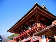 Hachiman Shrine - Kamakura, Japan. Emperor Ojin, Empress Jingu and Emperor Chuai of Japan are enshrined in the main shrine of Kamakura city on the top of the Stock Photos