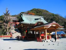 Hachiman Shrine - Kamakura, Japan. Emperor Ojin, Empress Jingu and Emperor Chuai of Japan are enshrined in the main shrine of Kamakura city on the top of the Royalty Free Stock Photo