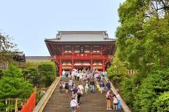 Hachimangu Shrine, Japan. People visit the Sakurayama Hachimangu Shrine during holiday. Yokohama, Japan Stock Photos
