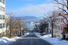 Hachimanzaka and the port of Hakodate in the city of Hakodate, Hokkaido Royalty Free Stock Image