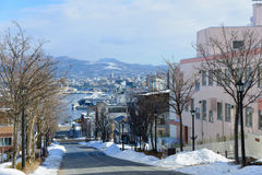 Hachimanzaka and the port of Hakodate in the city of Hakodate, Hokkaido Royalty Free Stock Photography