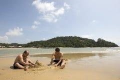 Hacia fuera en la playa Imágenes de archivo libres de regalías
