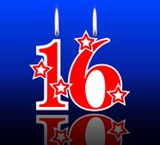 16 hacia fuera velas del cumpleaños libre illustration