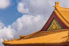 Detail of roof at Hsi Lai Buddhist Temple, California. Hacienda Heights, CA, USA - March 23, 2018: Red ochre roof structure detail of Hsi Lai Buddhist Temple Stock Image
