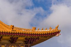 Detail Roof structure of Hsi Lai Buddhist Temple, California. Hacienda Heights, CA, USA - March 23, 2018: Red ochre roof structure of Hsi Lai Buddhist Temple Royalty Free Stock Images