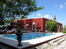 Hacienda With A Pool Stock Photography