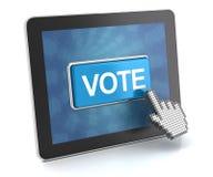 Haciendo clic el botón del voto en una tableta digital, 3d rinden Foto de archivo