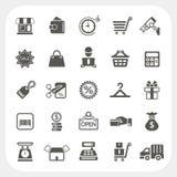 Haciendo compras e iconos de las finanzas fijados Imagen de archivo libre de regalías