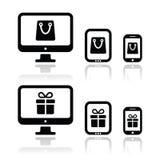 Haciendo compras en línea, iconos de la tienda de Internet fijados Fotografía de archivo